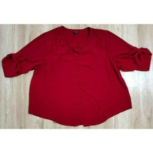 Torrid Womens Chiffon Sheer Red Blouse Size 4
